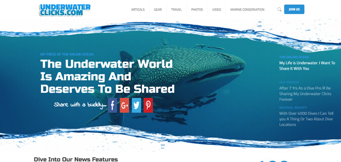 underwater clicks social scuba diving news web design