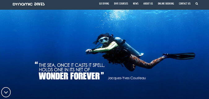 clients dynamic dives Thailand diving website design